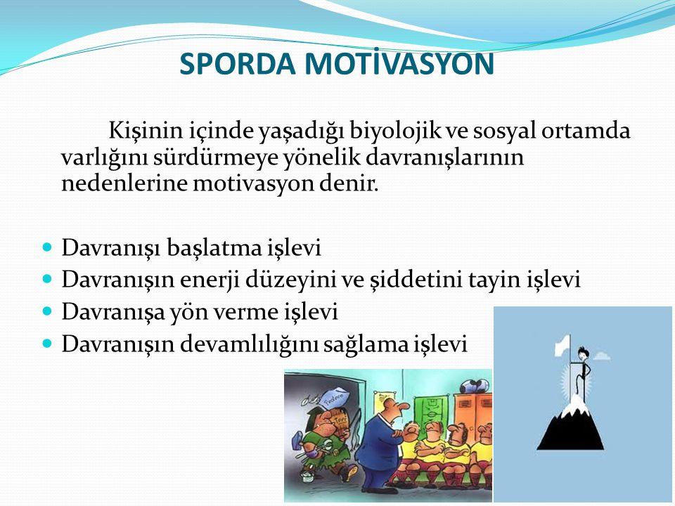 SPORDA MOTİVASYON Kişinin içinde yaşadığı biyolojik ve sosyal ortamda varlığını sürdürmeye yönelik davranışlarının nedenlerine motivasyon denir.