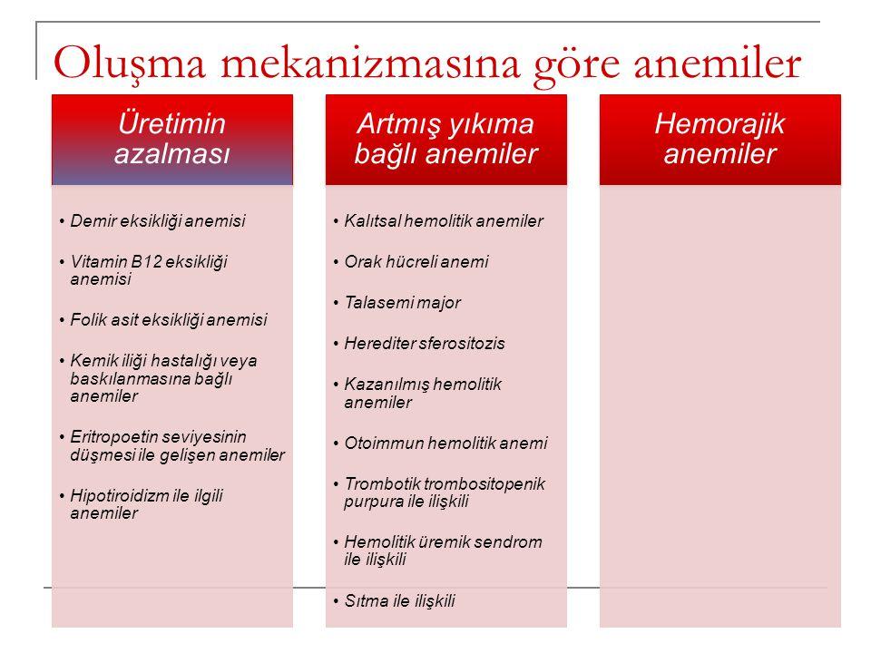 Oluşma mekanizmasına göre anemiler