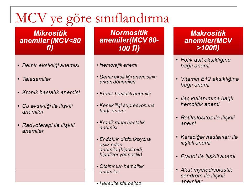 MCV ye göre sınıflandırma