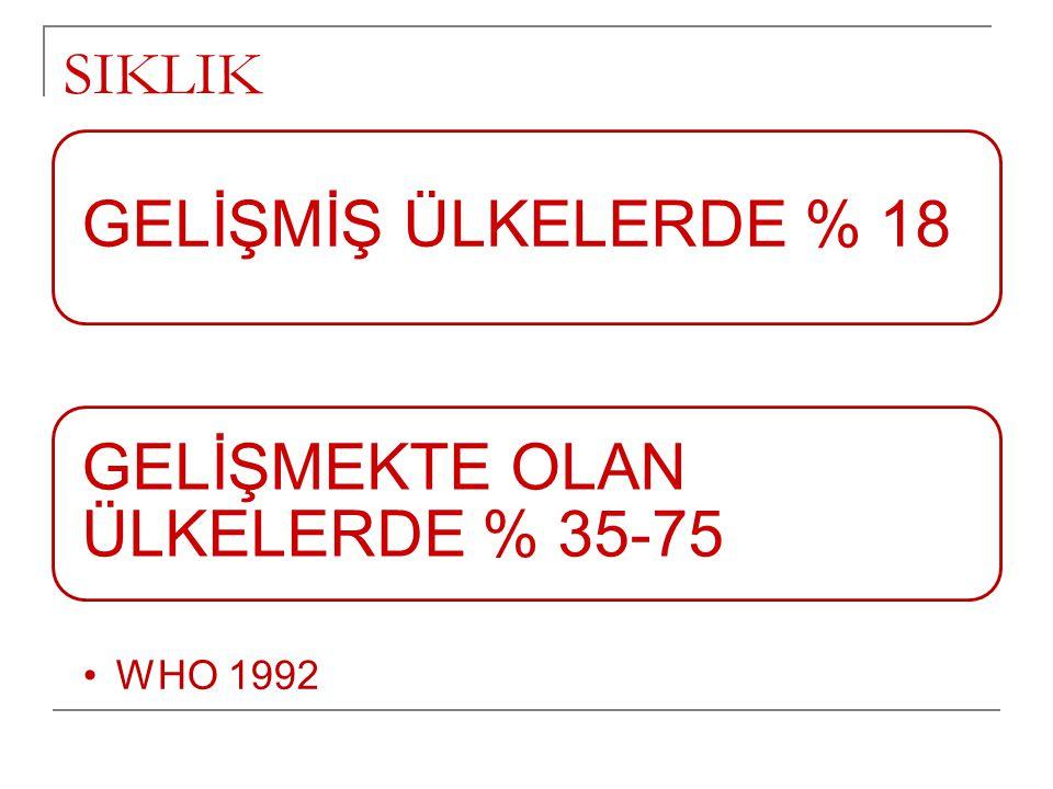 GELİŞMEKTE OLAN ÜLKELERDE % 35-75
