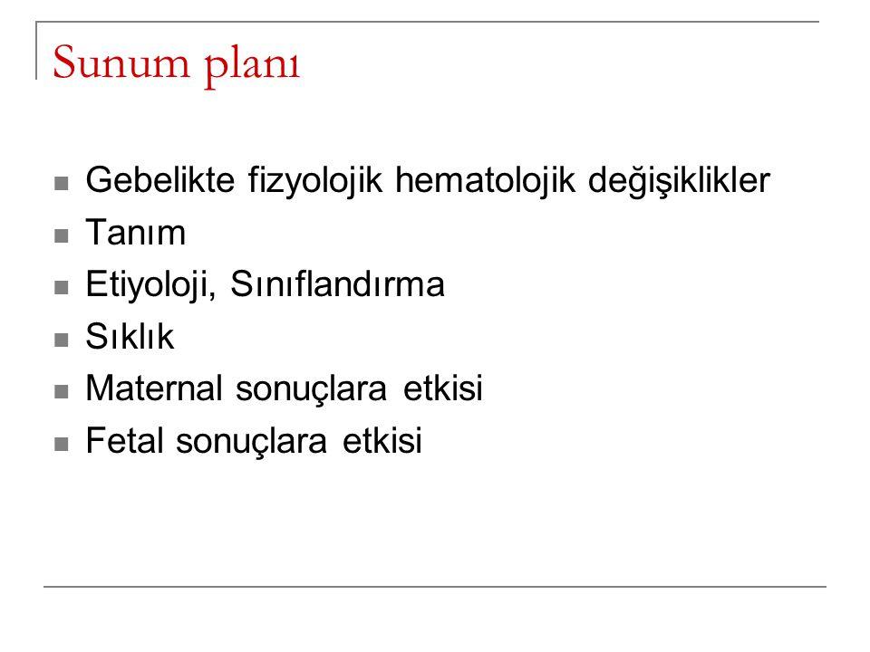 Sunum planı Gebelikte fizyolojik hematolojik değişiklikler Tanım