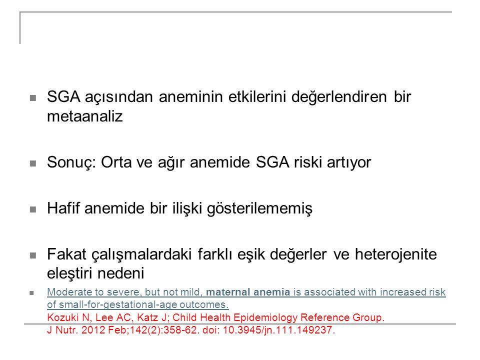SGA açısından aneminin etkilerini değerlendiren bir metaanaliz