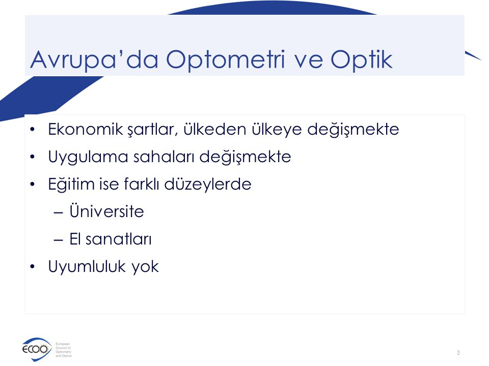 Avrupa'da Optometri ve Optik