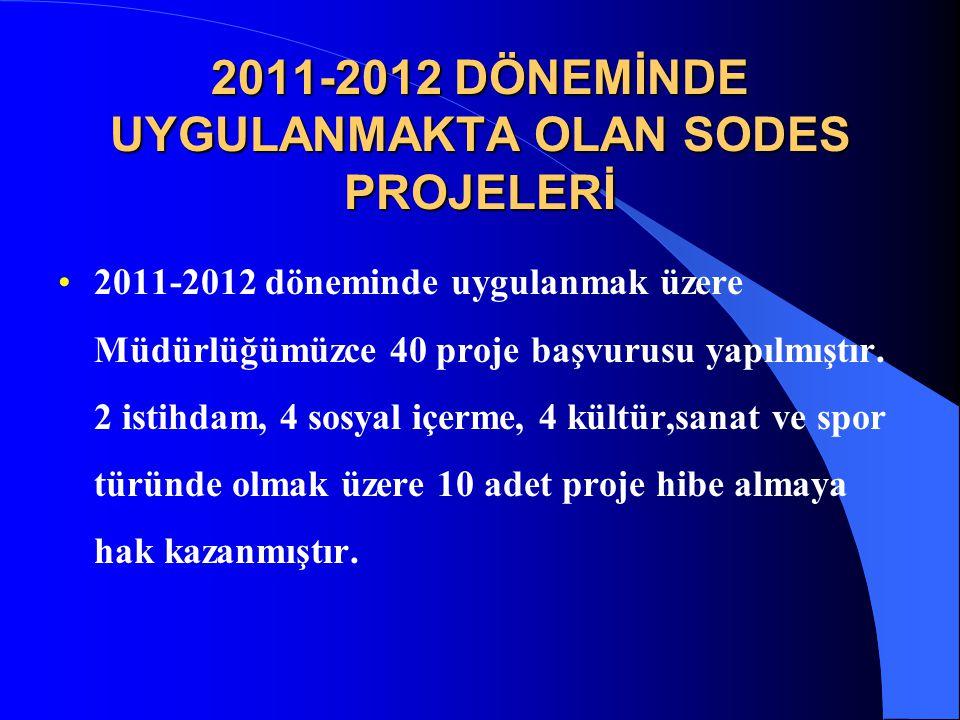 2011-2012 DÖNEMİNDE UYGULANMAKTA OLAN SODES PROJELERİ