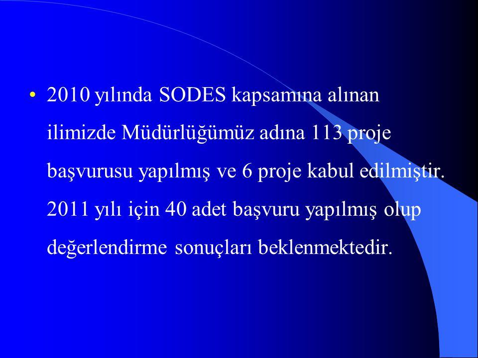 2010 yılında SODES kapsamına alınan ilimizde Müdürlüğümüz adına 113 proje başvurusu yapılmış ve 6 proje kabul edilmiştir.