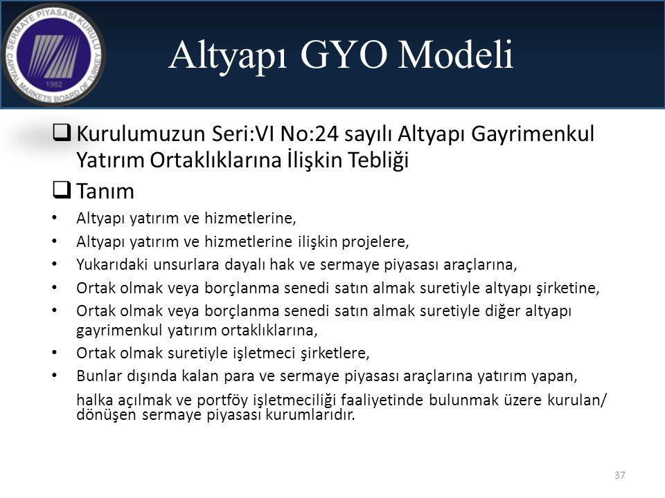 Altyapı GYO Modeli Kurulumuzun Seri:VI No:24 sayılı Altyapı Gayrimenkul Yatırım Ortaklıklarına İlişkin Tebliği.