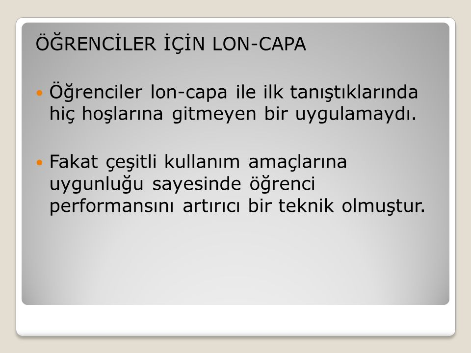 ÖĞRENCİLER İÇİN LON-CAPA