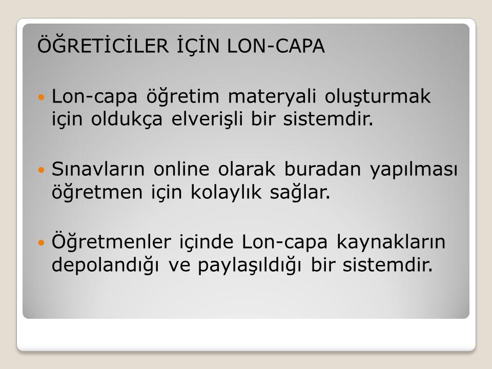ÖĞRETİCİLER İÇİN LON-CAPA