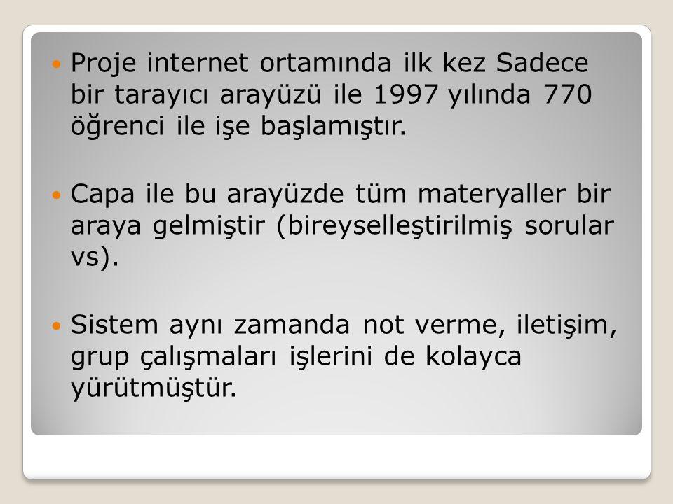 Proje internet ortamında ilk kez Sadece bir tarayıcı arayüzü ile 1997 yılında 770 öğrenci ile işe başlamıştır.