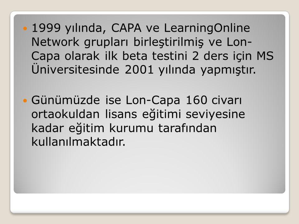1999 yılında, CAPA ve LearningOnline Network grupları birleştirilmiş ve Lon- Capa olarak ilk beta testini 2 ders için MS Üniversitesinde 2001 yılında yapmıştır.
