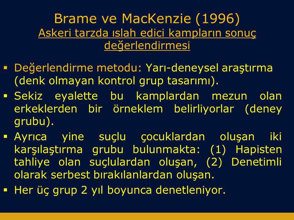 Brame ve MacKenzie (1996) Askeri tarzda ıslah edici kampların sonuç değerlendirmesi