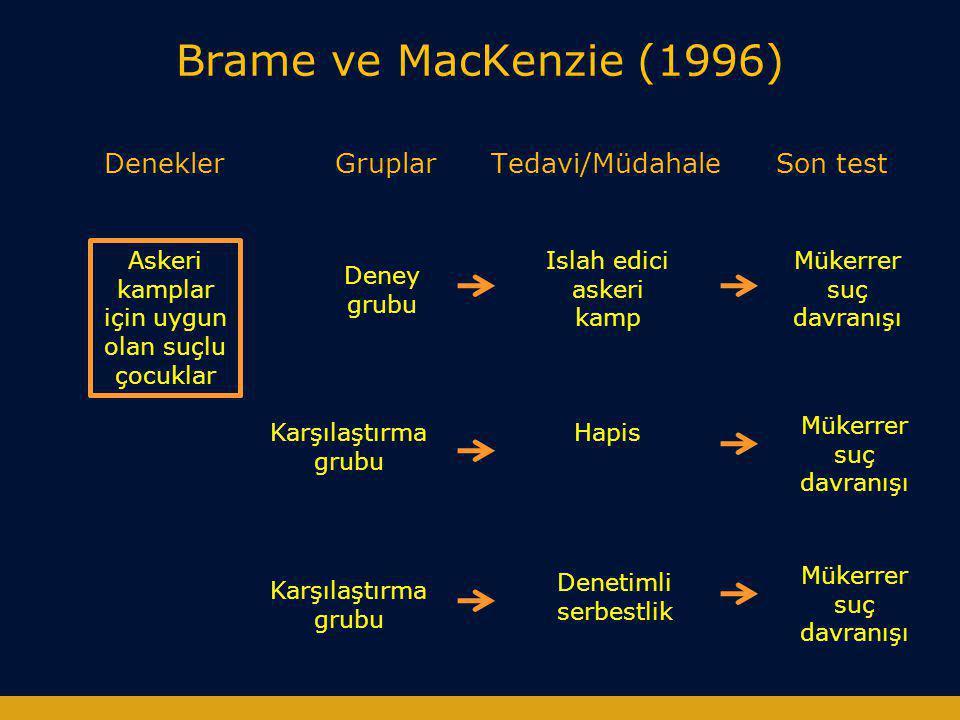 Brame ve MacKenzie (1996) Denekler Gruplar Tedavi/Müdahale Son test