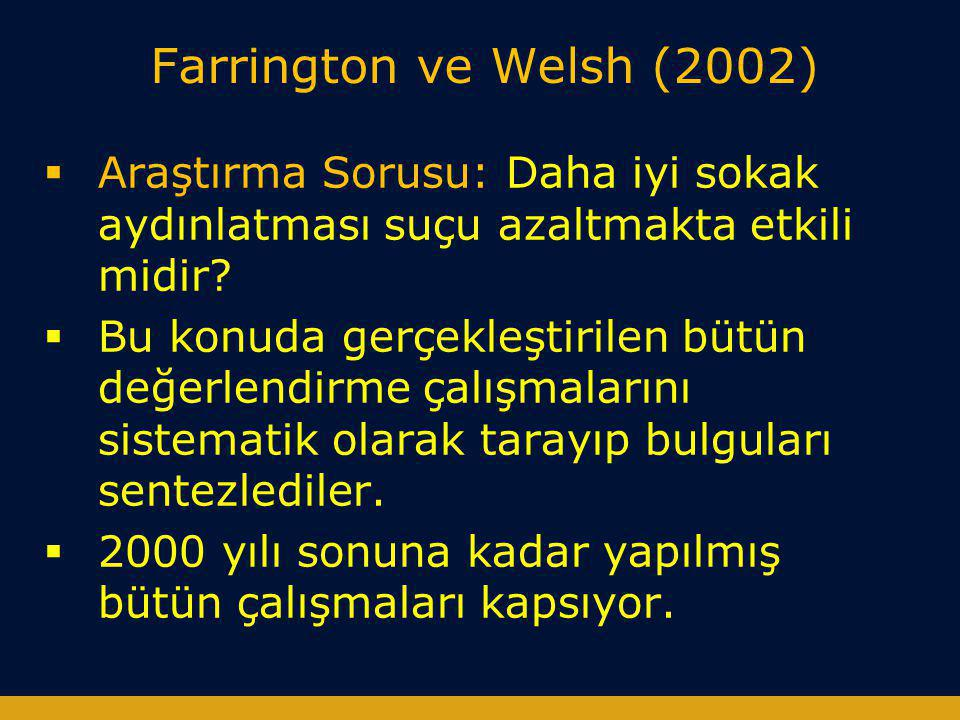 Farrington ve Welsh (2002) Araştırma Sorusu: Daha iyi sokak aydınlatması suçu azaltmakta etkili midir