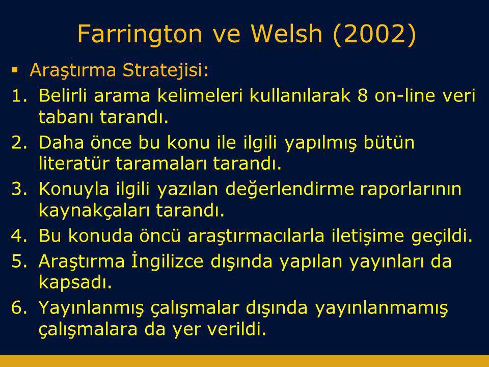 Farrington ve Welsh (2002) Araştırma Stratejisi: