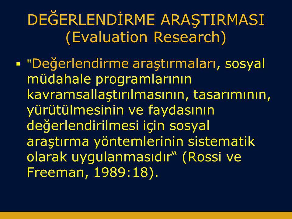 DEĞERLENDİRME ARAŞTIRMASI (Evaluation Research)