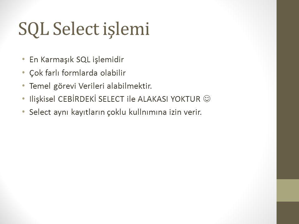 SQL Select işlemi En Karmaşık SQL işlemidir