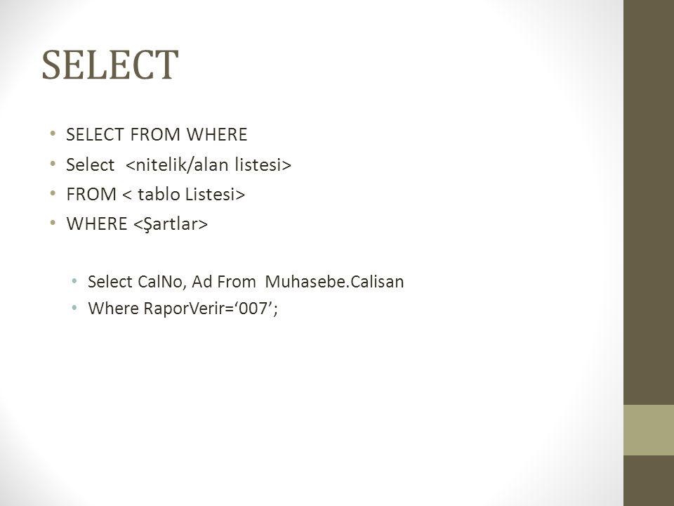SELECT SELECT FROM WHERE Select <nitelik/alan listesi>