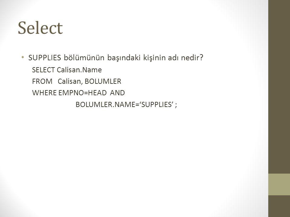 Select SUPPLIES bölümünün başındaki kişinin adı nedir