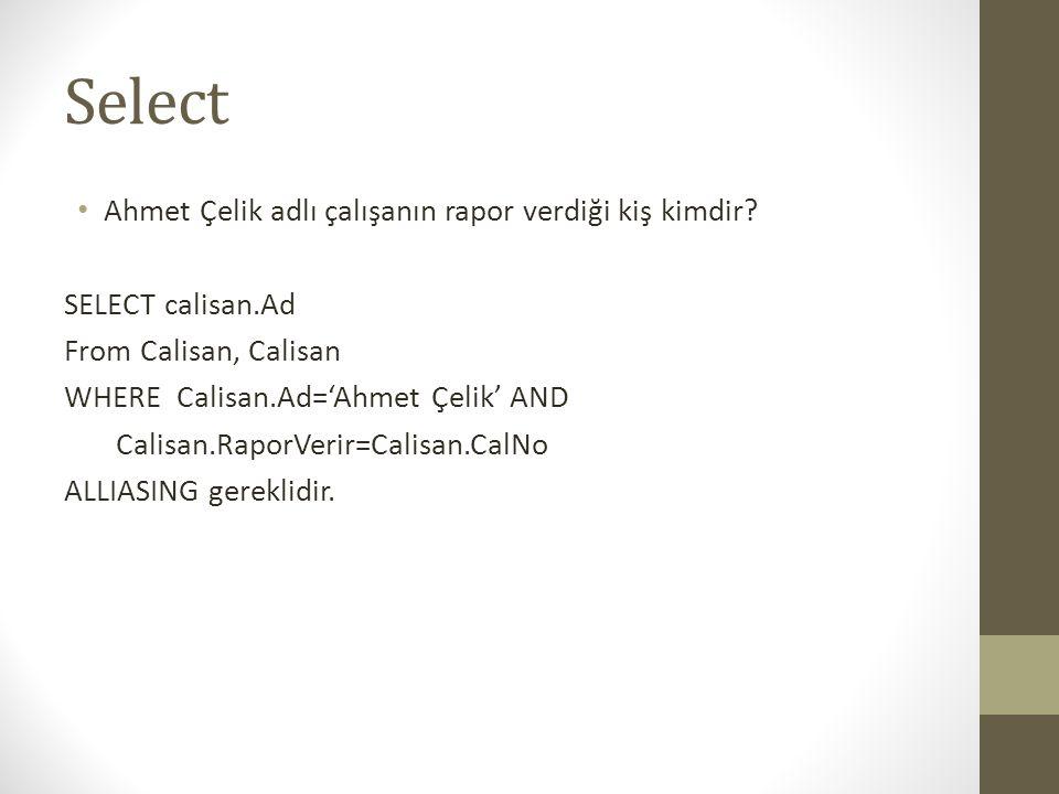 Select Ahmet Çelik adlı çalışanın rapor verdiği kiş kimdir