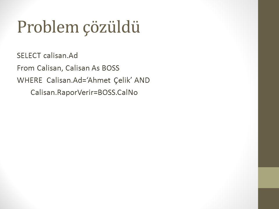 Problem çözüldü SELECT calisan.Ad From Calisan, Calisan As BOSS
