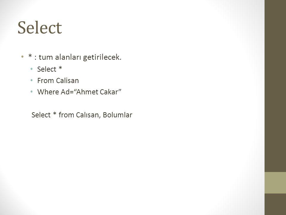 Select * : tum alanları getirilecek. Select * From Calisan