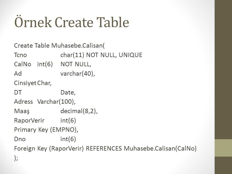 Örnek Create Table