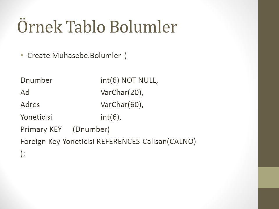 Örnek Tablo Bolumler Create Muhasebe.Bolumler (
