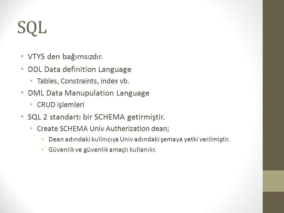 SQL VTYS den bağımsızdır. DDL Data definition Language
