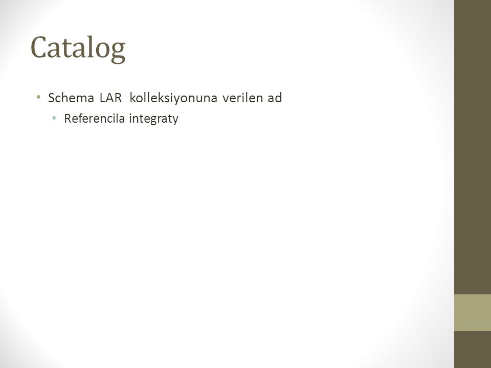 Catalog Schema LAR kolleksiyonuna verilen ad Referencila integraty