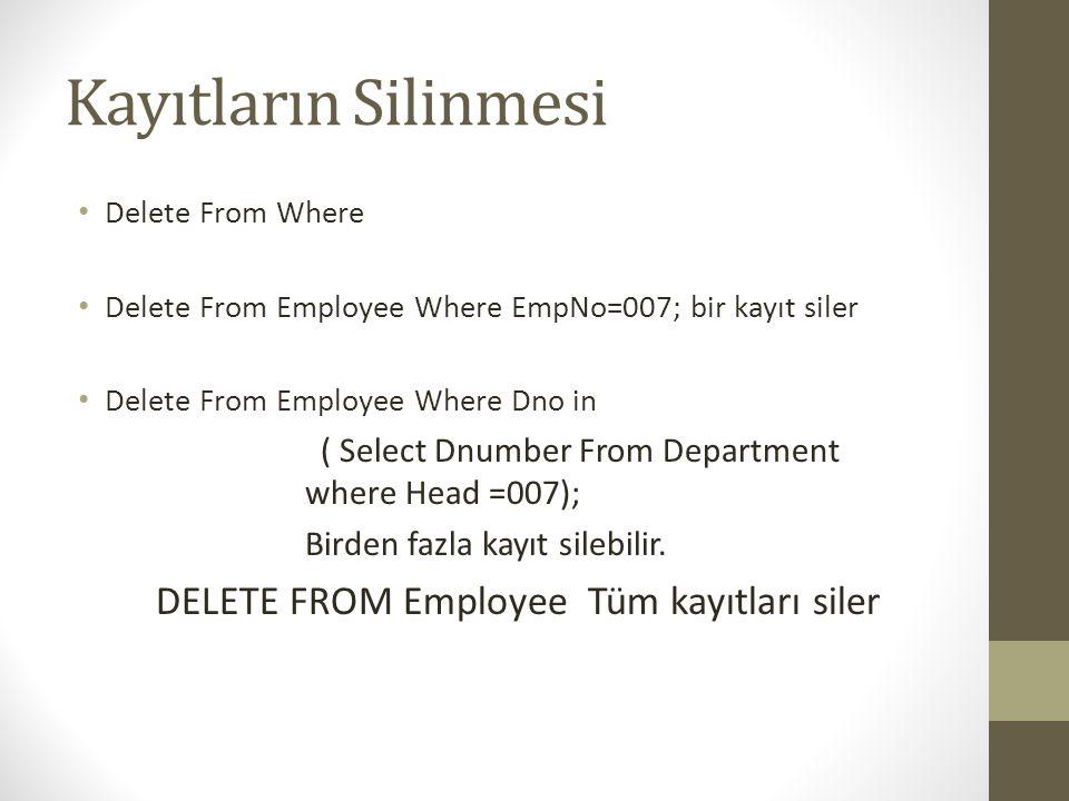 Kayıtların Silinmesi DELETE FROM Employee Tüm kayıtları siler