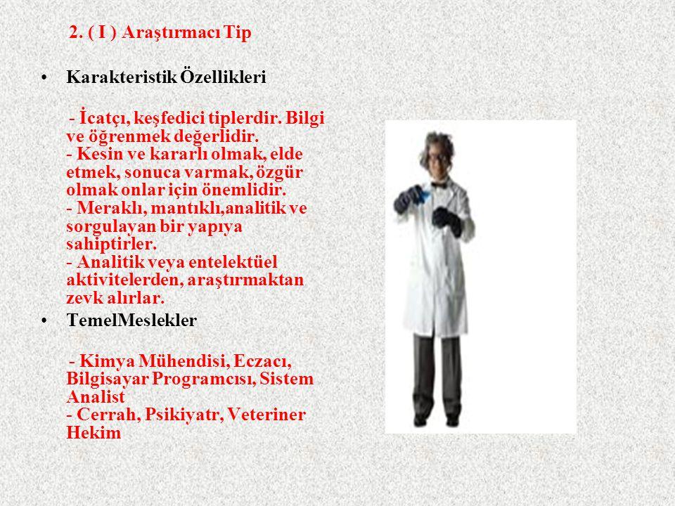 2. ( I ) Araştırmacı Tip Karakteristik Özellikleri.