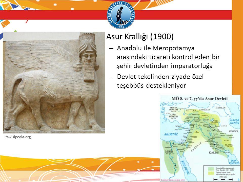 Asur Krallığı (1900) Anadolu ile Mezopotamya arasındaki ticareti kontrol eden bir şehir devletinden imparatorluğa.