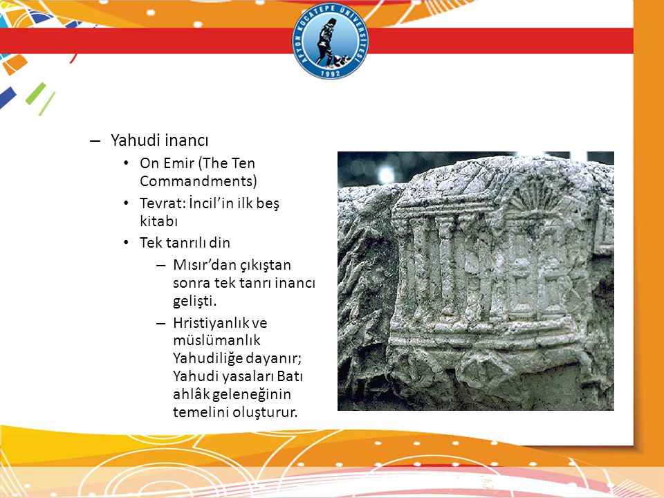 Yahudi inancı On Emir (The Ten Commandments)