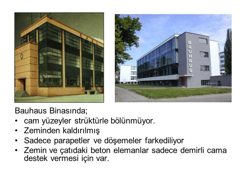 Bauhaus Binasında; cam yüzeyler strüktürle bölünmüyor. Zeminden kaldırılmış. Sadece parapetler ve döşemeler farkediliyor.
