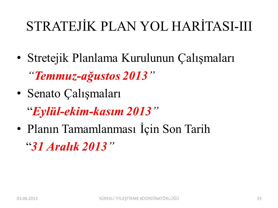 STRATEJİK PLAN YOL HARİTASI-III