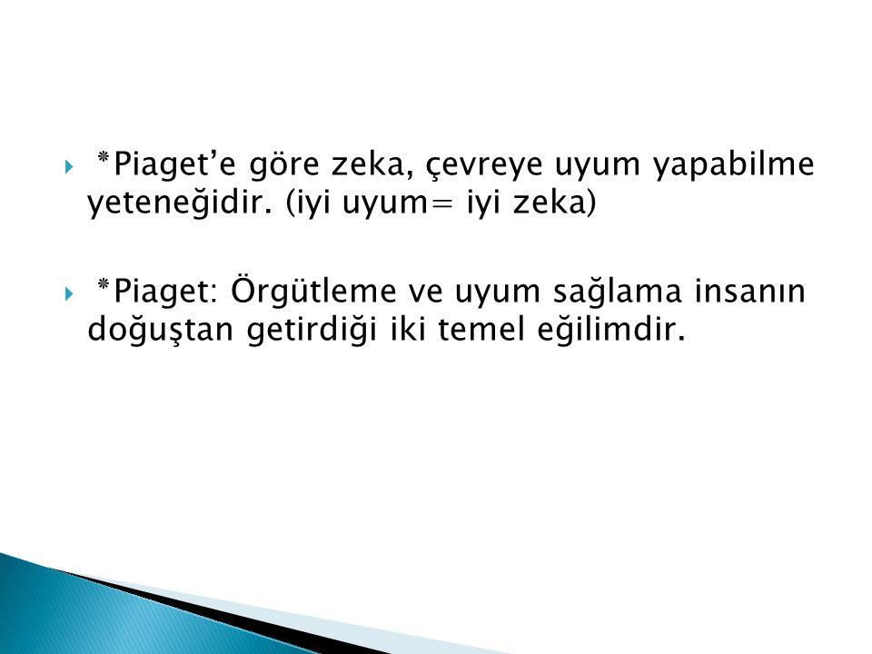 ٭ Piaget'e göre zeka, çevreye uyum yapabilme yeteneğidir