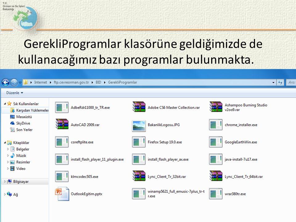 GerekliProgramlar klasörüne geldiğimizde de kullanacağımız bazı programlar bulunmakta.