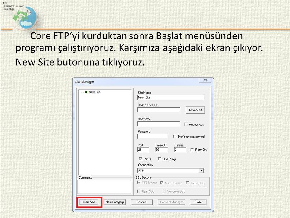 Core FTP'yi kurduktan sonra Başlat menüsünden programı çalıştırıyoruz