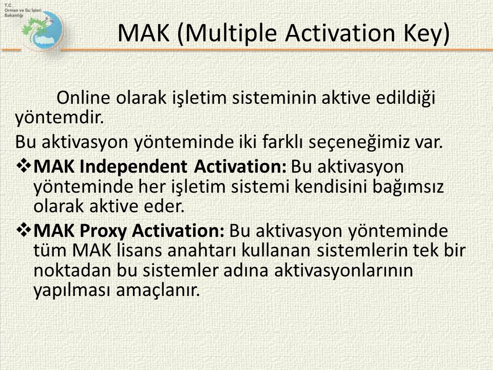 MAK (Multiple Activation Key)