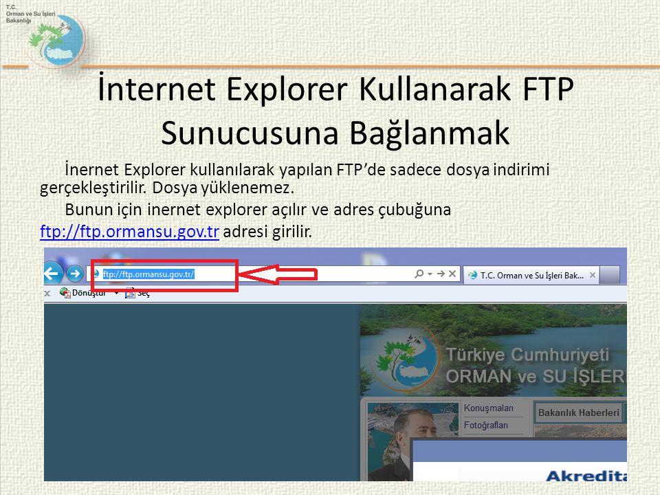 İnternet Explorer Kullanarak FTP Sunucusuna Bağlanmak