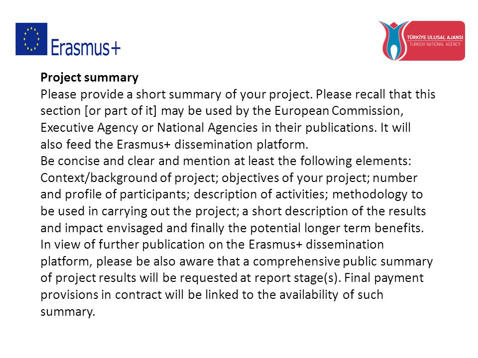 Project summary Please provide a short summary of your project