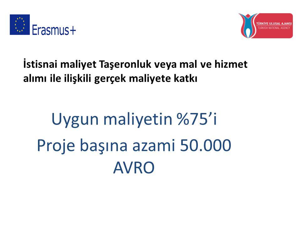 Uygun maliyetin %75'i Proje başına azami 50.000 AVRO