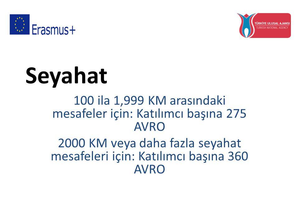 100 ila 1,999 KM arasındaki mesafeler için: Katılımcı başına 275 AVRO
