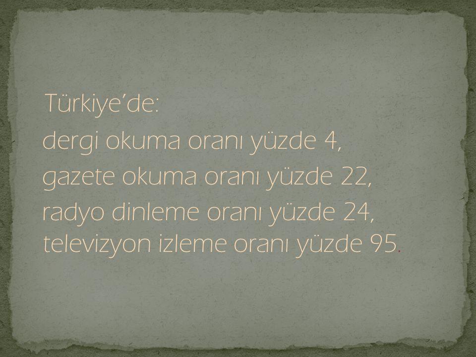 Türkiye'de: dergi okuma oranı yüzde 4, gazete okuma oranı yüzde 22,
