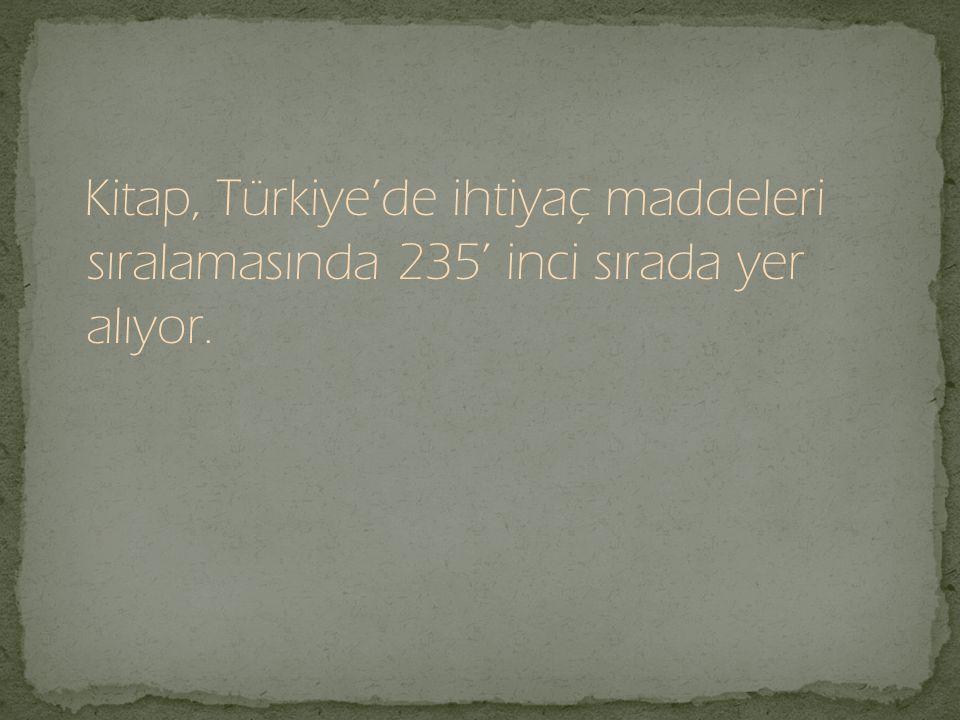 Kitap, Türkiye'de ihtiyaç maddeleri sıralamasında 235' inci sırada yer alıyor.