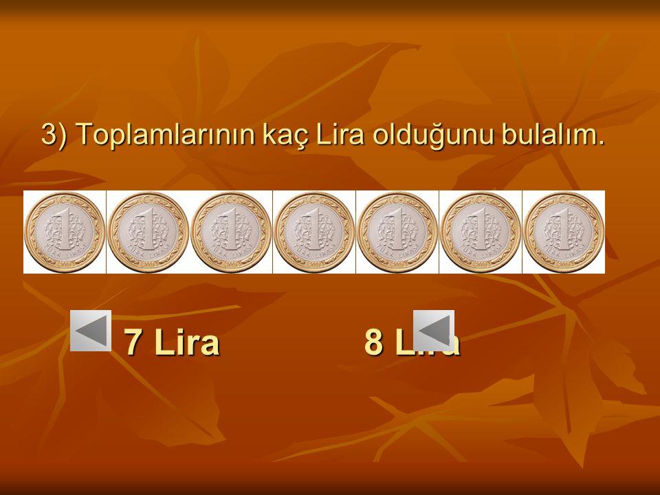 3) Toplamlarının kaç Lira olduğunu bulalım.