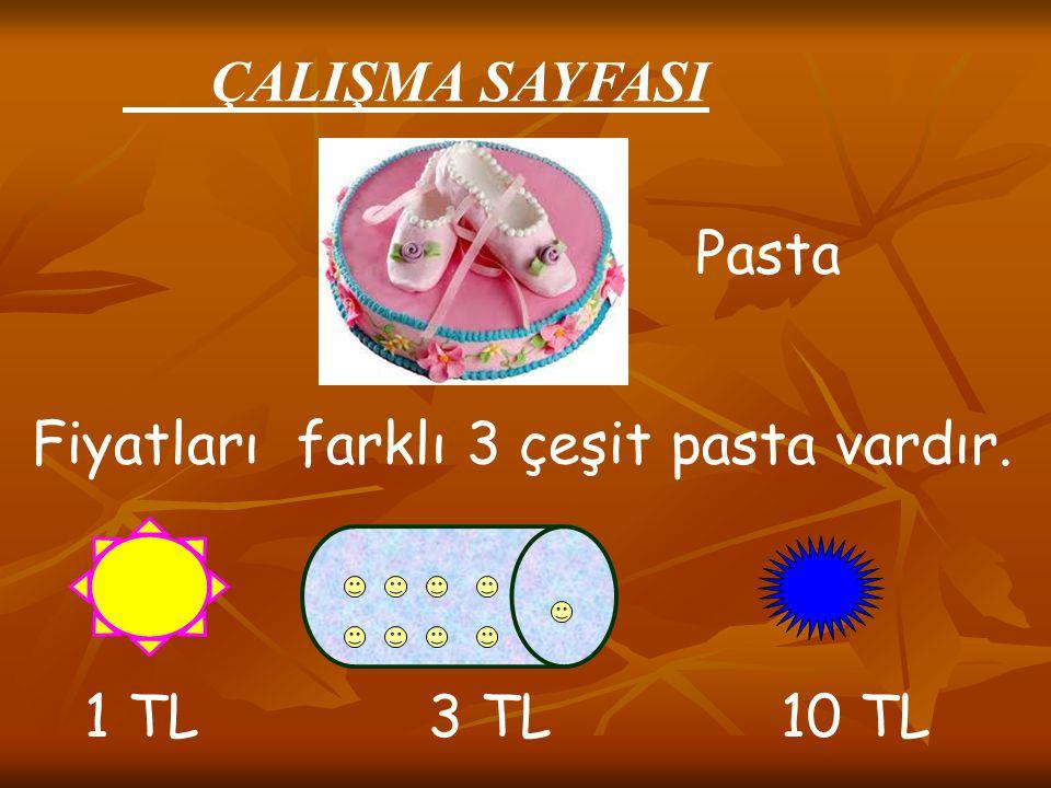 ÇALIŞMA SAYFASI Pasta. Fiyatları farklı 3 çeşit pasta vardır.