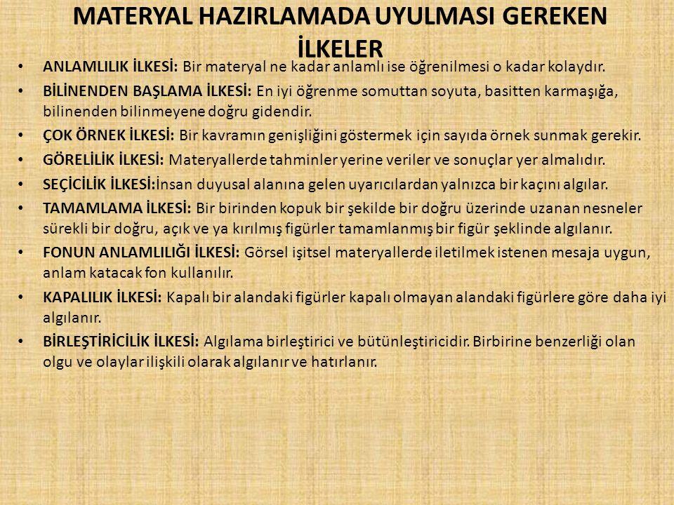 MATERYAL HAZIRLAMADA UYULMASI GEREKEN İLKELER
