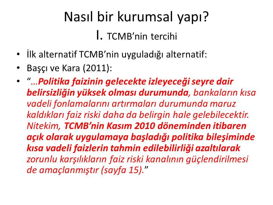 Nasıl bir kurumsal yapı I. TCMB'nin tercihi