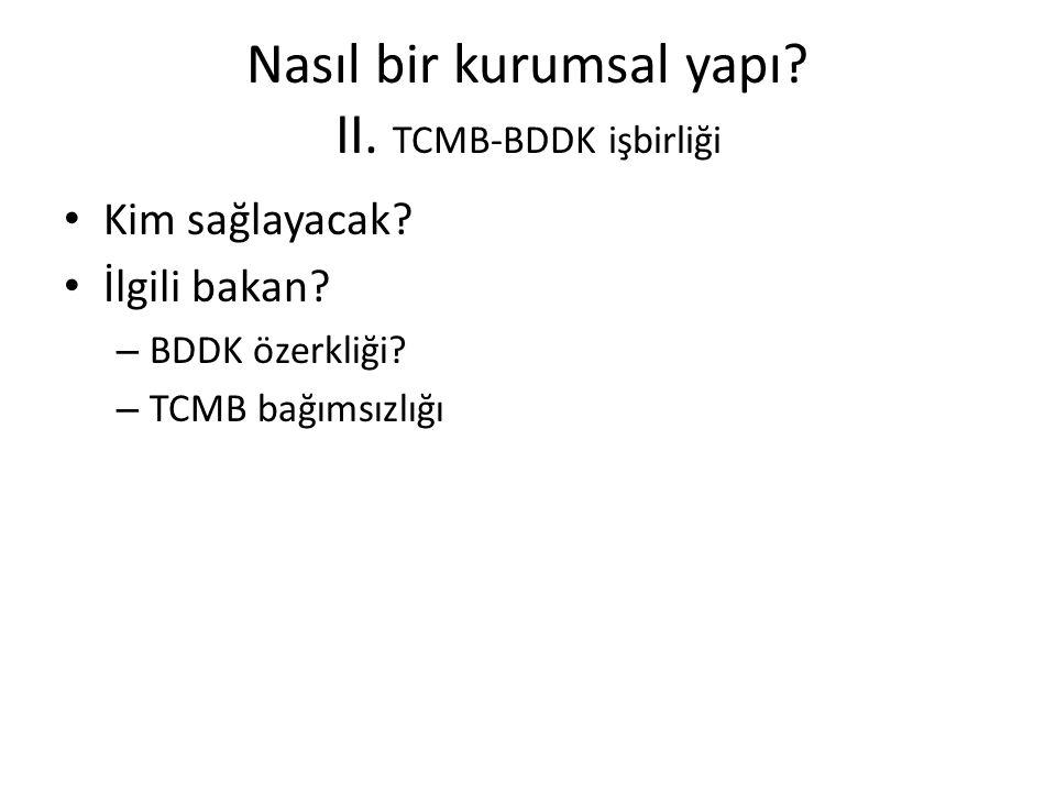 Nasıl bir kurumsal yapı II. TCMB-BDDK işbirliği